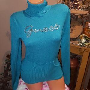 Guess rhinestone logo sweater M